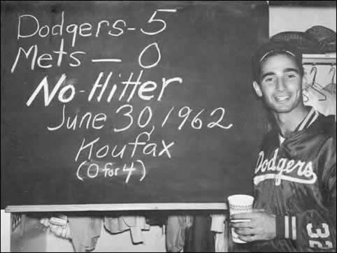 "Koufax at the ""No Hitter"" chalkboard in 1962"